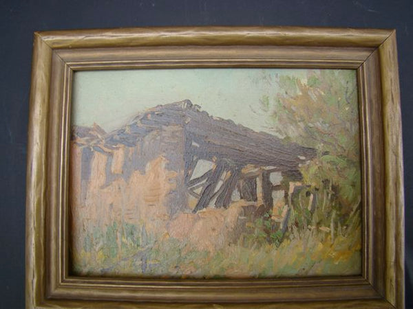 Unsigned painting-Hacienda on a hill