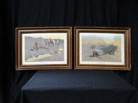Frederic Remington western prints - Pair