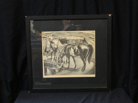 Chang Reynolds: Outside the Horse Tent lithograph 1940s