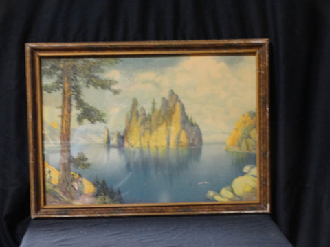 Louis Seybold: Landscape with Lake (print, Crater Lake, OR)