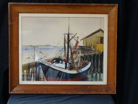 """Queen Mary boat in Provincetown Harbor"" Painting"