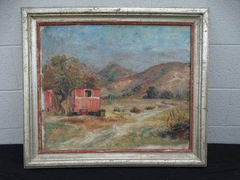 The Red Shack - Landscape oil on board by Ejnar Hansen