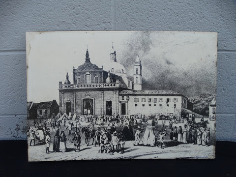 Transfer print on board of 19th Century Bahia - the Town Square -1960s