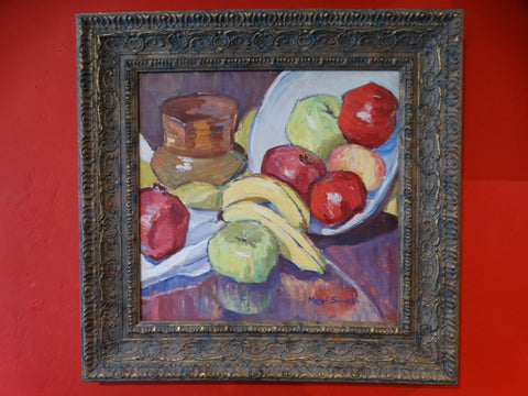 Mabel Sumerlin: Still Life Apples & Bananas, 1930