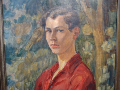 "Portrait of a Youth (""Erik"") Oil on Canvas, signed 1920s"