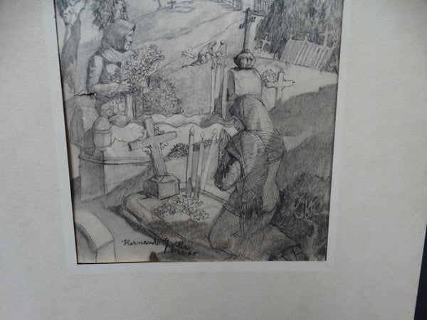Henando Villa Drawing - Two Ladies Visiting The Cemetery