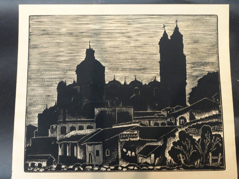 Carl Pappe Block Print of Taxco