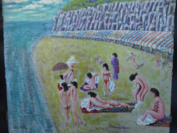 Oil on Board Nudes on The Beach at the Cliffs