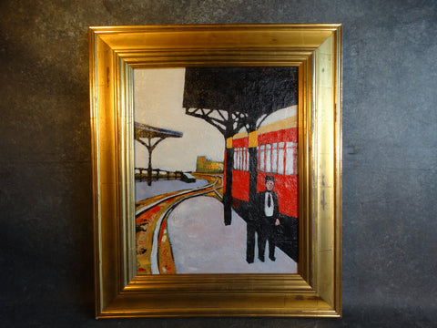 Meyer Greenberg Stationmaster on Platform Oil on Canvas c 1930