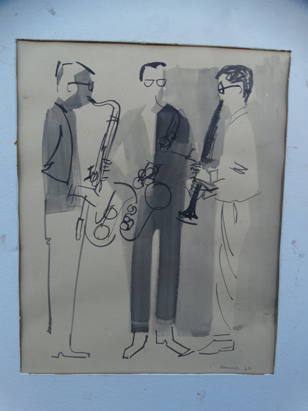 C Brower 3 Jazz Musicians Ink Wash 1962