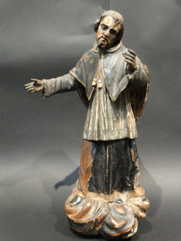 18th Century Spanish Santo - St Augustine Wooden Sculpture