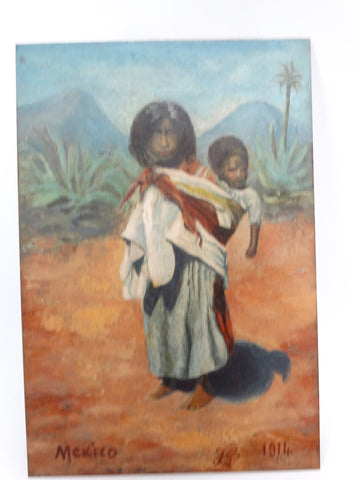 Tiny Oil Painting on Tin - Mexican Child Carrying a Baby 1914