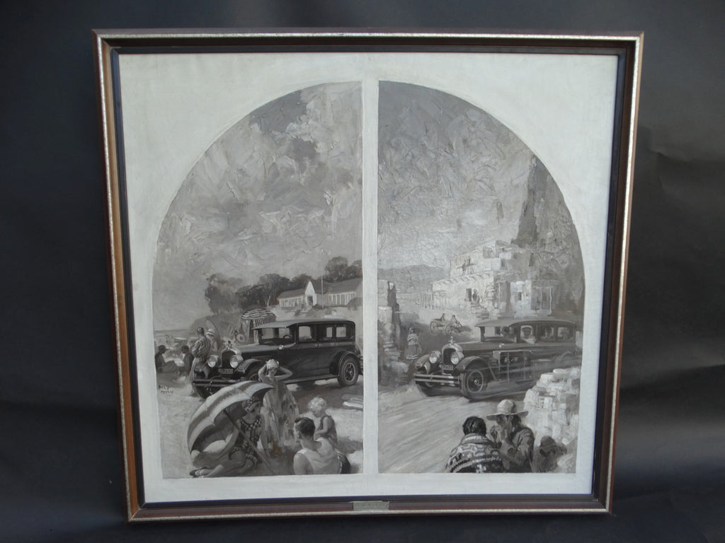 Fred Mizen Original Illustration Art for Marmon Motors Oil On Canvas 1926