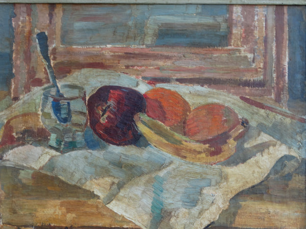 Still Life: Fruit, Glass w Spoon in Water - c 1939 Oil on Canvas