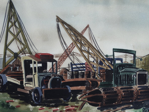 Marion Kramer -  Regionalist Watercolor - Winch Trucks in an Industrial Yard 1930s