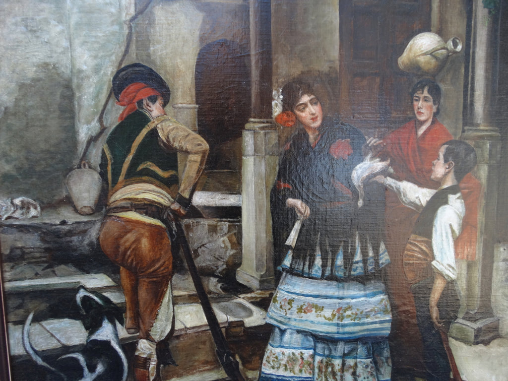 Spanish Revival Genre Oil Painting c 1890