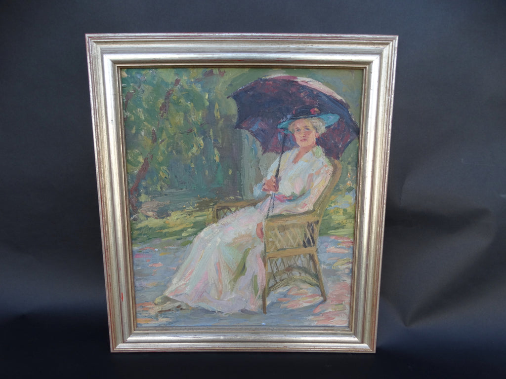 Lady with a Parasol in Dappled Shade c 1910 Impressionist Oil On Canvas