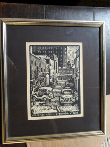 MacDougal Alley - Greenwich Village Wood Block Print 1940s