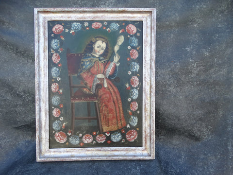 Spanish Colonial Portrait of Saint Catherine 19th Century Bolivian/Peruvian