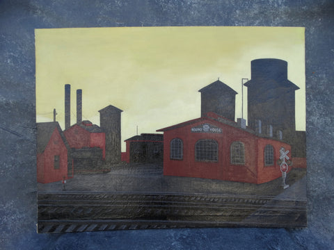 Marion Kramer - Southern Pacific Roundhouse Oakland California - Oil on Canvas