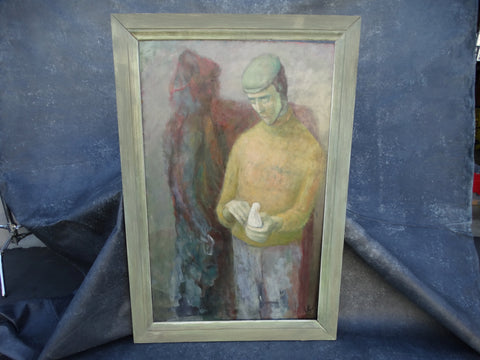 Jorgen Hansen - Man Holding Dove in the Company of His Shadow - Oil on Board 1960s