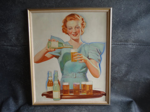 Charles Hart Baumann Dream Girl Serving Beers Original Illustration Art Oil on Canvas 1933