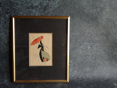 Lady In The Rain - Édouard Halouze - Small Pochoir c 1920 - Boudoir Art P2560