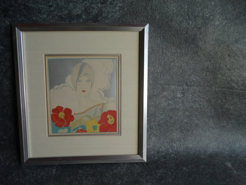 Turbaned Lady in a Day Dress with Crimson Flowers - Fashion Pochoir - Boudoir Art c  1920s