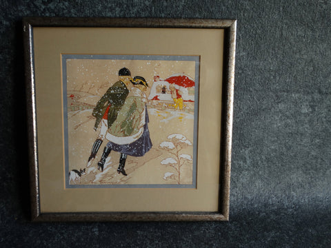 Huntsman and his Huntswoman Seeking Shelter in a Snowstorm: Romantic Pochoir - Boudoir Art 1920s
