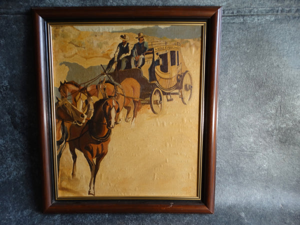 Wells Fargo Stage Coach Oil on Board 1950s