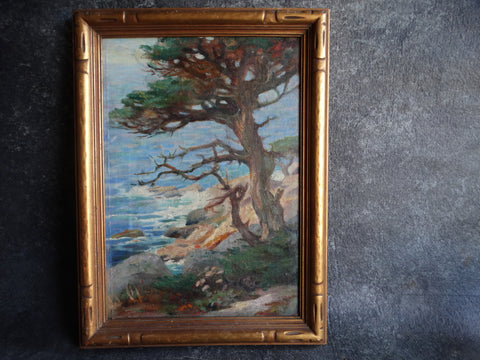 California Coastal Plein Air Painting c 1920s Oil on Canvas P2573