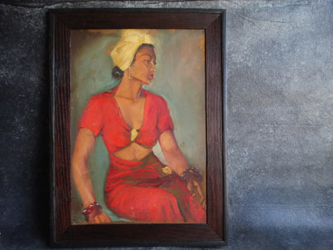 Portrait of a Woman in Red in a Yellow Turban Oil on Board P2574