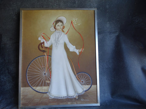 Alejandro Camarena (1942-2011) - Girl with A Penny Farthing Bicycle, a Dove And A Long Red Ribbon P2581