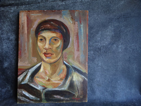 Head of a Woman Oil On Board Signed Thompson 1948 P2582