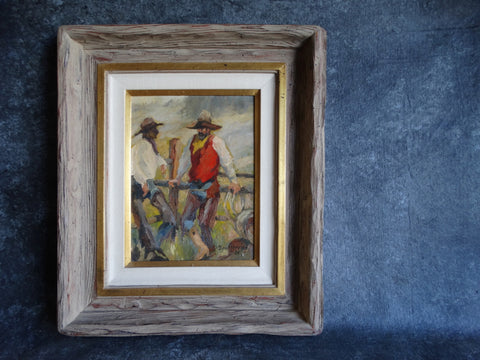Dan Marvine - Cowboy Scene - The Ropers - Oil On Canvas 1984 P2583
