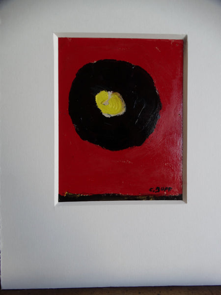 Conrad Buff Yellow Black Red Abstract Oil on Board P2585