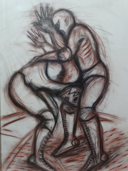 Ixrael- 2001 - Luchadores (The Wrestlers) - Charcoal and Conte Crayon Drawing P2596