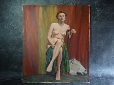 Aaron. Hanin - Seated Female Nude with Classical Greek Plaster Horse's Head 1949 P2600