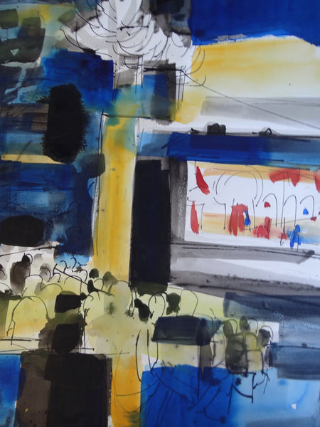 Jae Carmichael Modernist Theater Blue and Yellow Study 1960s Watercolor P2623