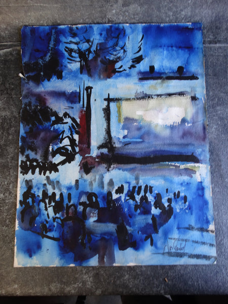 Jae Carmichael Modernist Theater Watercolor Study in Blues c 1960s P2624