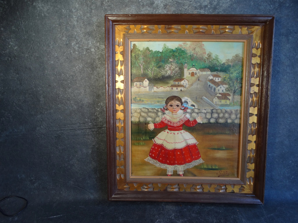 Agapito Labios Young Girl in Red in a Colonial Village Oil on Canvas P2637