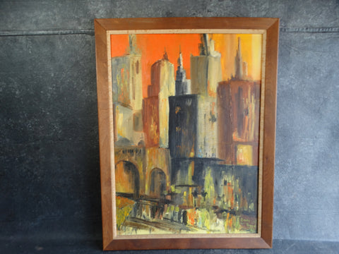 Cindy Boyd- City Scape - Oil on Board - P2653