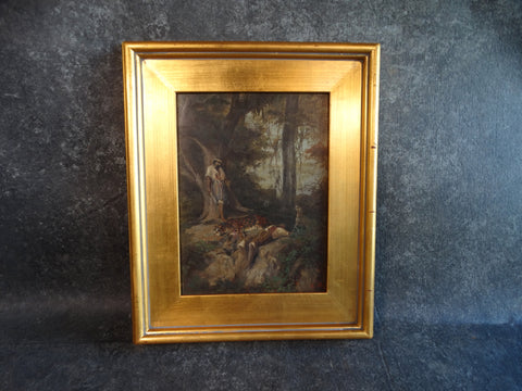 The Hunter and the Leopard c 1900 Oil on Board P2673