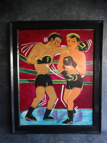 Two Boxers - Oil on Canvas 1970s P2677