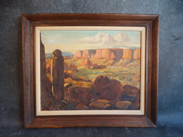 Frank Maxwell Southwest Desert Landscape Oil on Board 1950s P2682