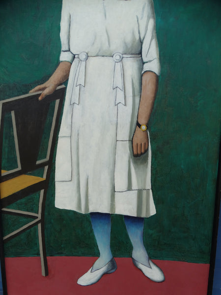 Meyer Greenberg - Portrait of a Young Woman In White - 1976 - Oil on Canvas P2690