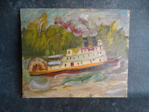 Anders Aldrin - Paddle Steamer circa 1930s Oil On Board P2698
