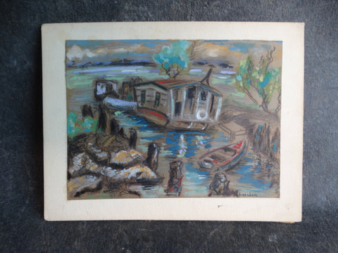 Meyer Greenberg Houseboat - Mixed Media on Paper circa 1940s P2701