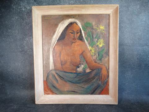 E Sotella Native Woman Oil on Board 1949 P2725