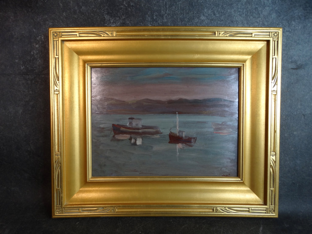 Anders Aldrin Three Boats at Dusk circa 1943 Oil On Board P2732